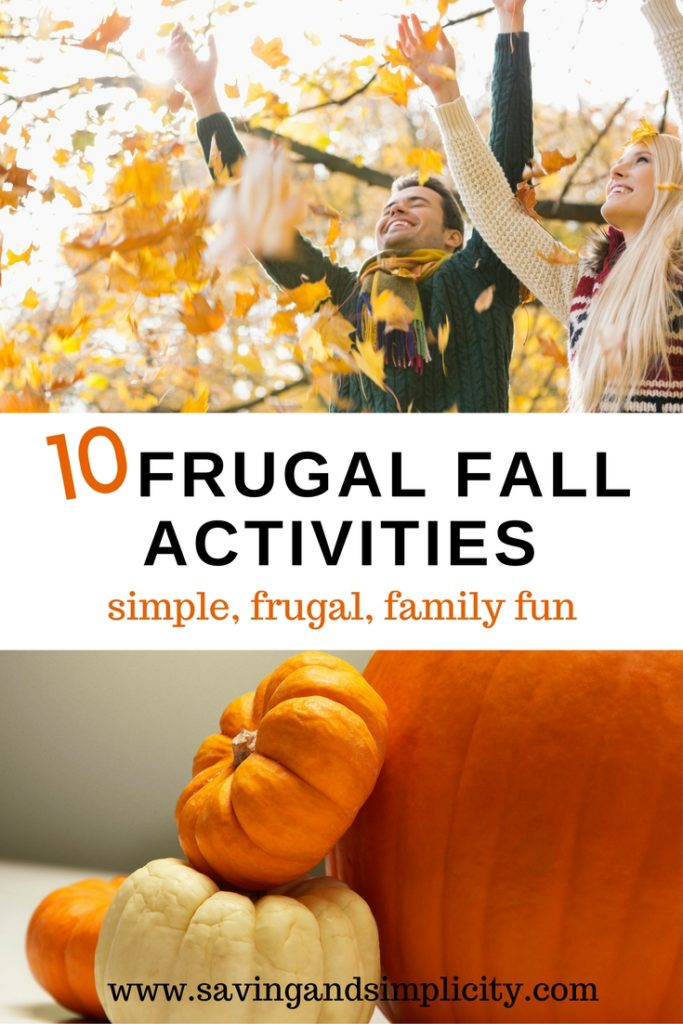 10 frugal Fall activities. Celebrate Autumn without breaking the bank. Simple, frugal, family fun. Pumpkins, cocoa, walks in the park and so much more.