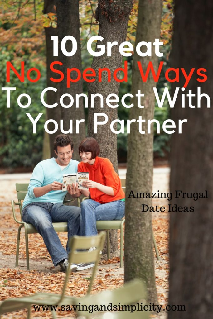 Are you looking for frugal date ideas? Great ways to connect with your partner that don't cost a dime. You can still have a great date night even during a no spend month. Celebrate your relationship and save money. Frugal living.