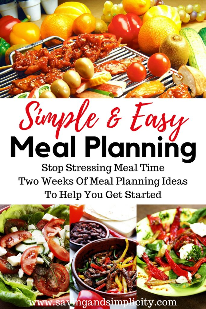 Has the time crunch got you stressed when it comes to meal time?Well stress no more.Here you will find two weeks of simple, easy meal ideas to help you get started. It is time to stress less about meal time and spend more time doing what you love.