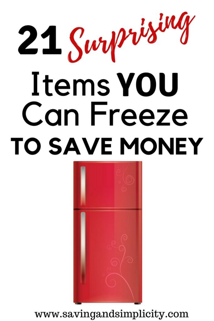 21 surprising items you can freeze to save money. Learn how to save money and what regular everyday items you can freeze. Living frugally and saving money on household expenses.