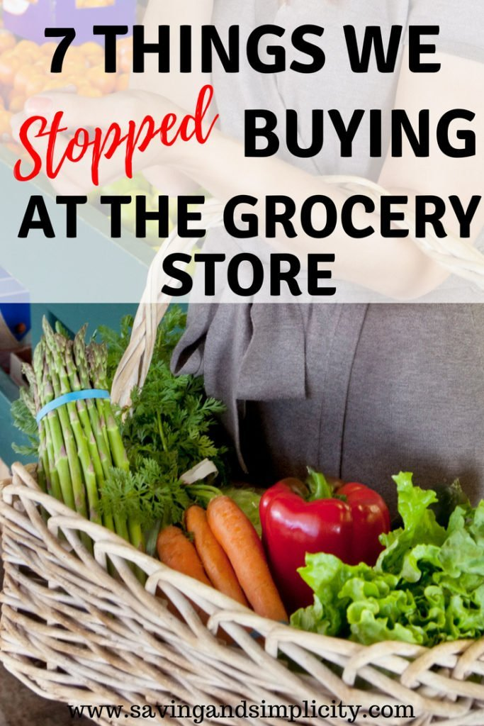 Learn the seven things we took off our grocery list to save money. We stopped buying these seven items at the grocery store and saved hundreds of dollars each month. You can start saving money too.