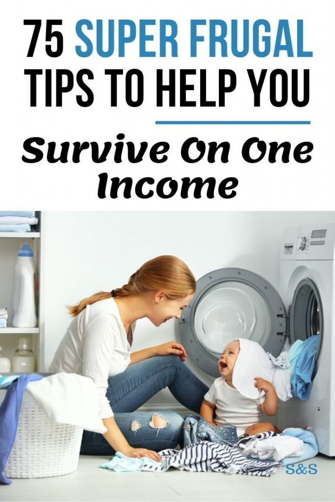 Frugal living, surviving on one income. It can be done. Learn 75 frugal living tips to help you succeed and thrive in a single income household.