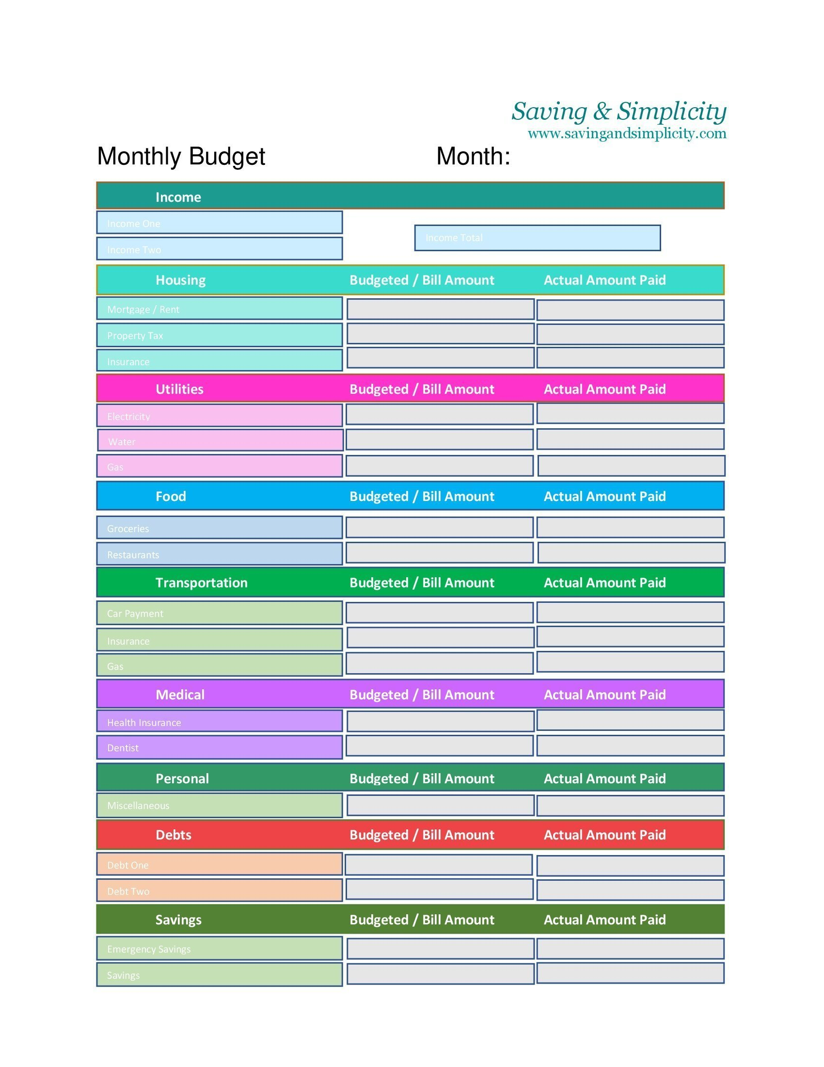 Frugal Living Printables Archives - Saving & Simplicity